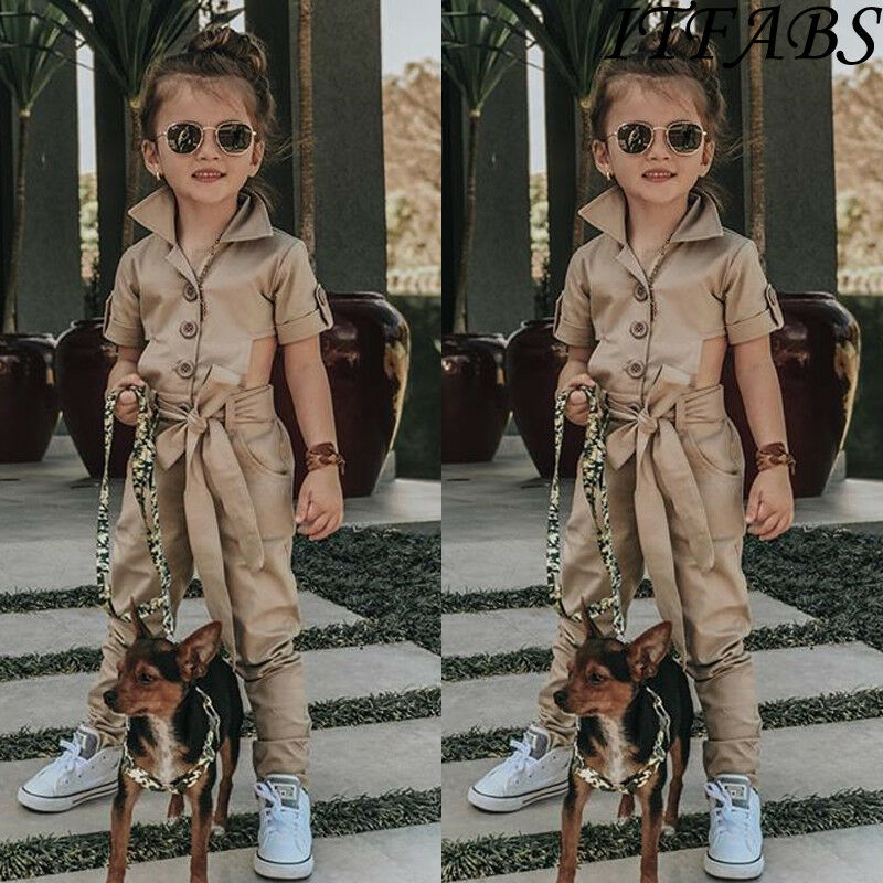 Khaki Jumpsuit Romper Overall Short-Sleeve Cool Hollow-Out-Button England-Style Toddler title=