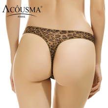 Buy ACOUSMA Leopard Sexy G-String T Back Panties Women Floral Lace Embroidery Transparent Thin Seamless Underwear Lingereie