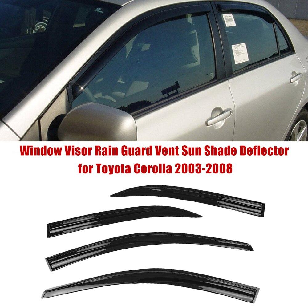 Chrome Side Window Vent Visors Rain Guards for Toyota Corolla 2003-2008