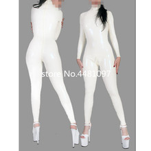 Buy Sexy Unisex Women's White Latex Catsuit Rubber Bodysuits Back Crotch Zip High Quality Latex Rubber Zentai fetish