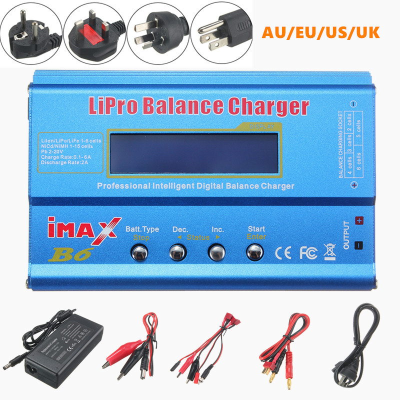 New iMAX B6 Digital 80W 1-6S RC Lipo NiMH Battery Balance Charger Discharger For RC Drone FPV US/UK/EU/AU Plug(China)