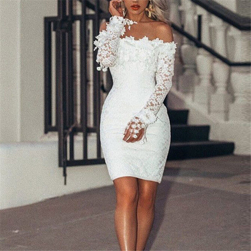 Womens Off Shoulder Formal Dress Lace Long Sleeve Party Evening White Short Mini Pencil Dress Beach Holiday Dresses Vestidos Women's Clothing