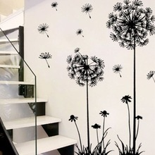 Wall-Stickers Dandelion Sitting-Room Bedroom On-The-Wall Black Household Adornment Hot