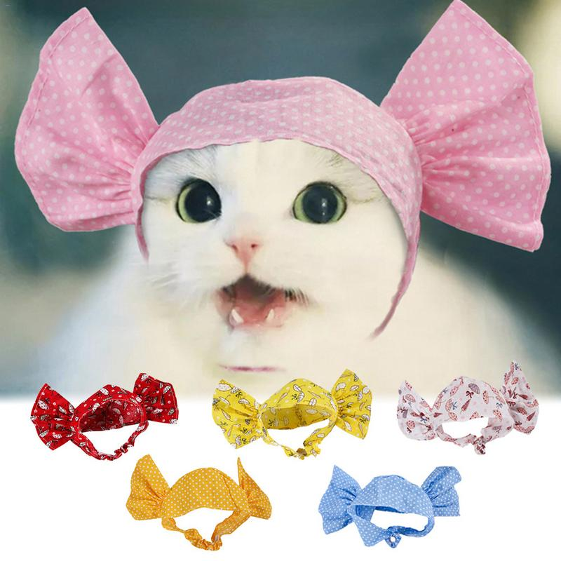 Home 6 Cat Candy Styling Wigs Cat Funny Wave Umbrella Pattern Headwear Transvestite Headscarf Pets Head Ornament Attractive And Durable