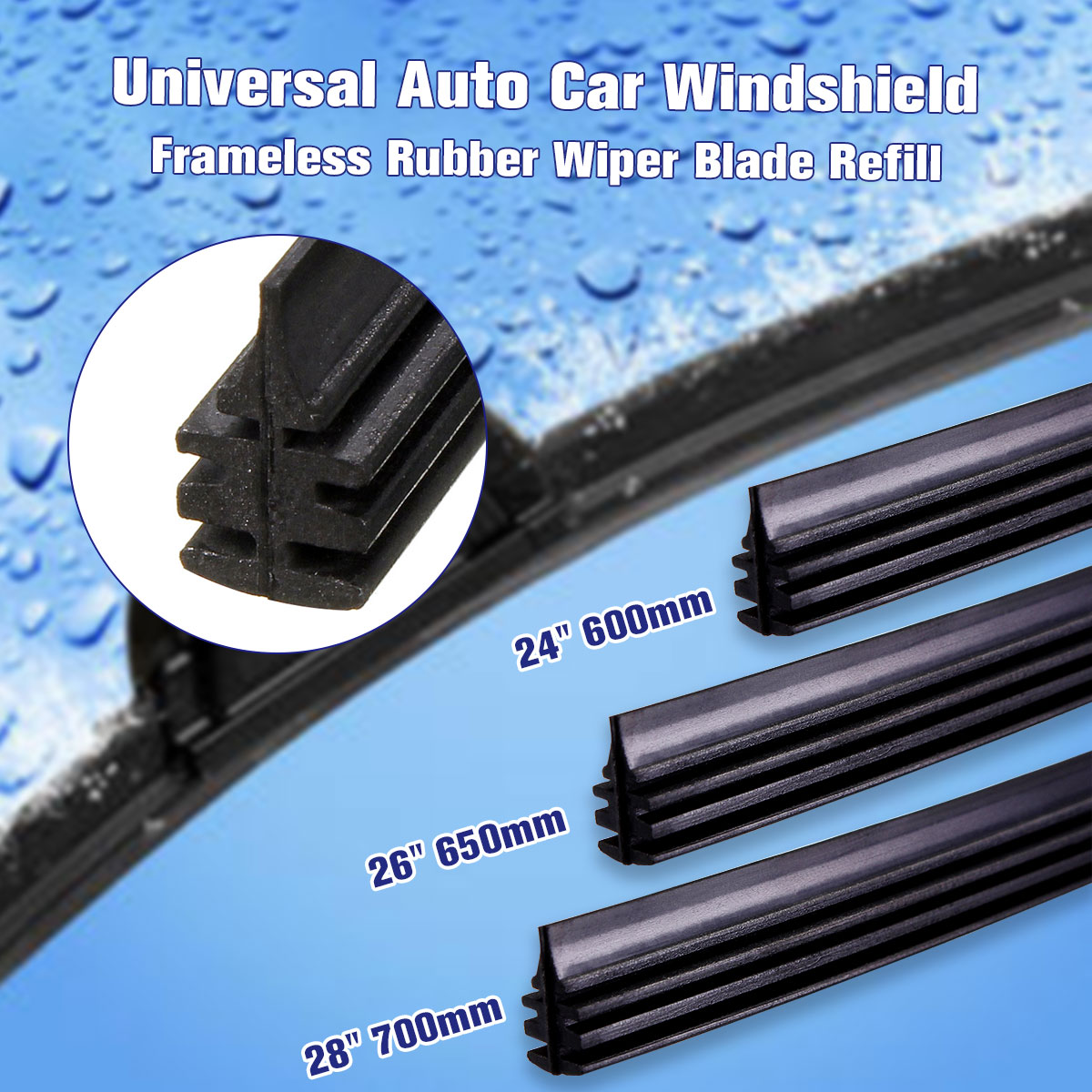 Universal 28 700mm Rubber Frameless Windscreen Wiper Blade Strips Wiper Blades for Car Bus Van Truck Soft Rubber (China)