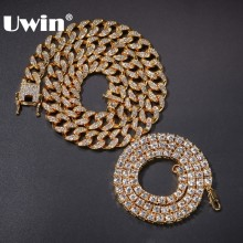 UWIN Hiphop Jewelry Necklace Link-Chain Cuban Iced-Out Rhinestones Gold-Color Fashion