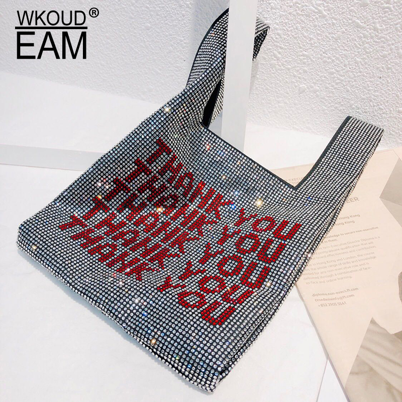 WKOUD EAM 2019 New Spring Summer Personality Letter Printed Rhinestone Nailed Personality Accessories Women Fashion Tide JQ06