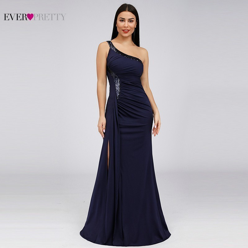 Bodycon High Split Evening Dresses Ever Pretty Sequined One Shoulder Mermaid Elegant Women Long Party Gowns Robe Soiree 2020