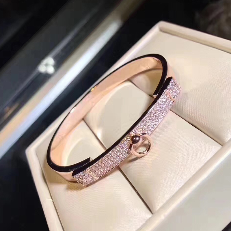 Brand Pure 925 Sterling Silver Jewelry For Women Twist Lock Silver Bangle Full Stone Rose Gold Bangle Wedding Jewelry Easy Lock