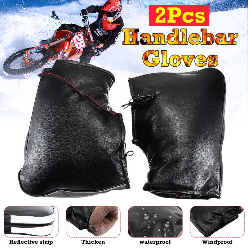 Full Finger Gloves Snowmobile Waterproof Winter Hand Gloves PU Leather Warm Covers Motorcycle Handlebar Muffs