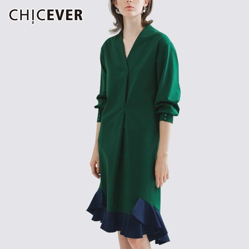CHICEVER Ruffles Female Dresses For Women V Neck Three Quarter Sleeve Hit Colors Mermaid Dress Vestido Elegant Clothes New