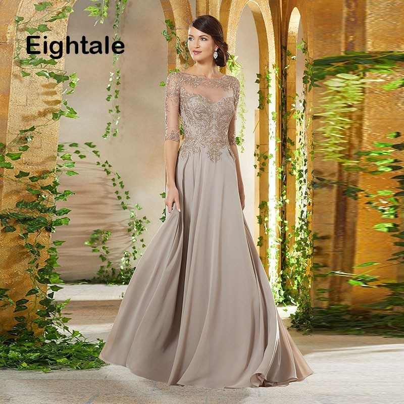 Eightale Mother of the Bride Dresses 2019 Scoop Appliques Beaded A Line Chiffon Half Sleeve Evening Dress for Party Gown(China)