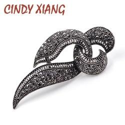 Женская брошь с черными кристаллами CINDY XIANG, винтажная брошь геометрической формы