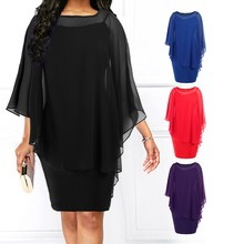 Plus Size 5XL Women Casual Solid Color Pencil Dress Elegant Three Quarter Batwing Sleeve Fake Two-piece Slim Bodycon Dress Femme(China)