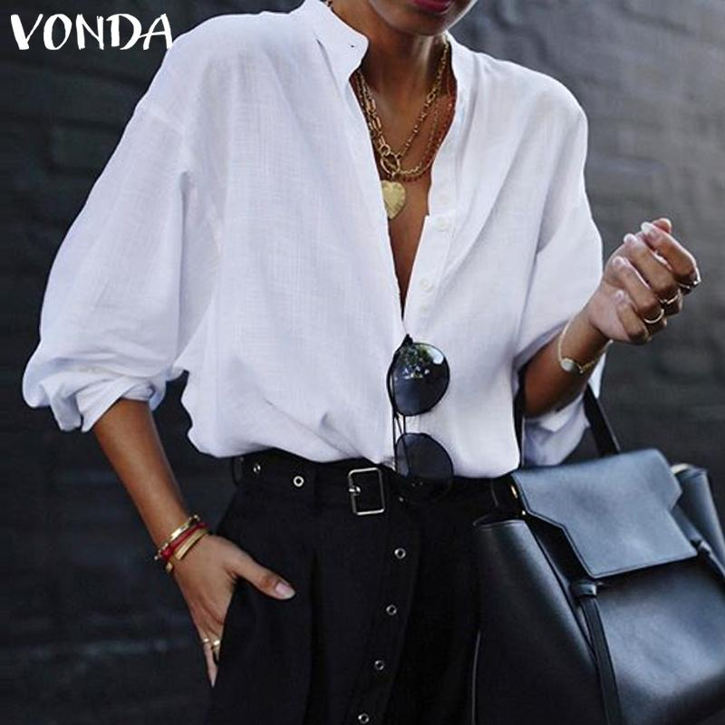 VONDA Fashion Women Blouses 2019 Summer Office Lady White Shirts Lantern Sleeve Buttons Deep V Neck Blouse Sexy Plus Size Tops(China)