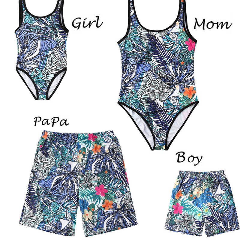 Family Matching Swimwear Leaf Printed Mom Daughter Two Piece Swimsuit Bikini Dad and Son Swim Trunks Beachwear