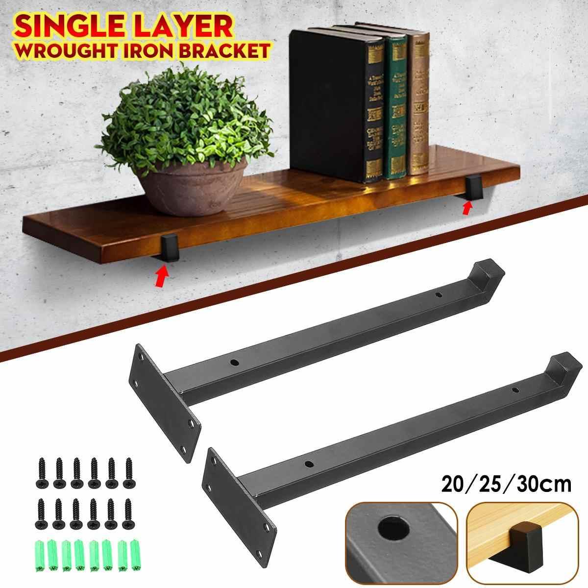 2pcs Wall Mounted Shelf Bracket Heavy Duty Industrial Iron