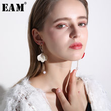 WKOUD EAM Jewelry / 2019 New Fashion Temperament Red Ballerina Girl Petals Tassel Earrings Women's Accessories S#R1323(China)