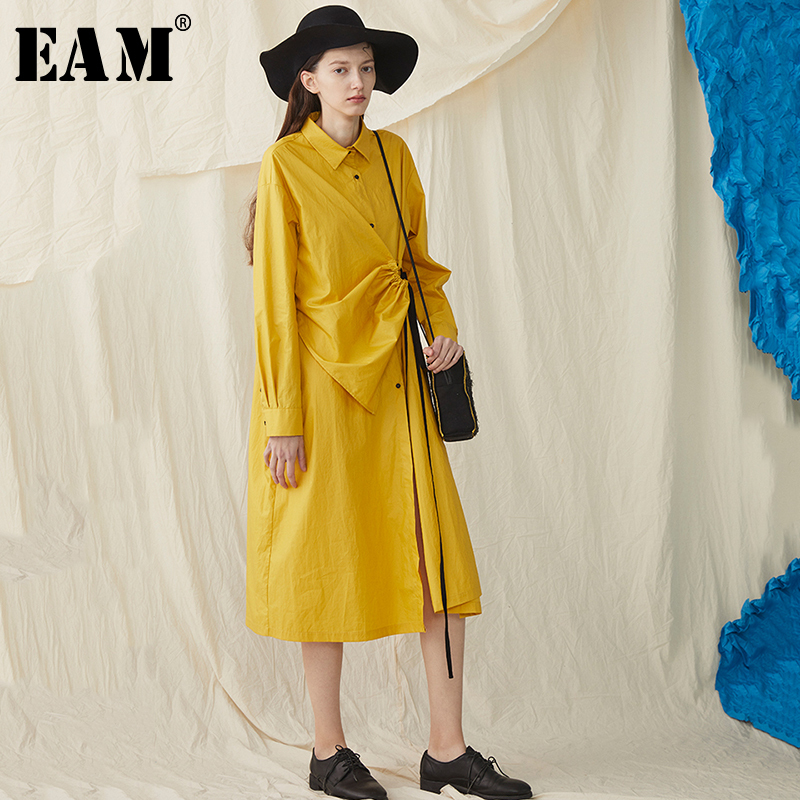 [EAM] 2019 New Spring Summer Lapel Long Sleeve Yellow Fold Pleated Drawstring Big Size Shirt Dress Women Fashion Tide JS031