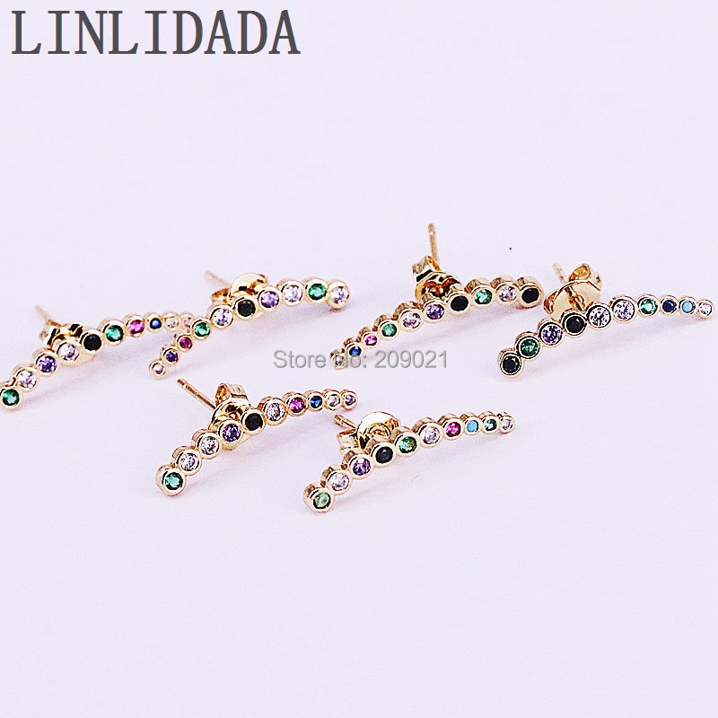 10Pair Rainbow Micro Pave Colorful Crystal Cubic Zirconia girl women fashion Jewelry stud earrings