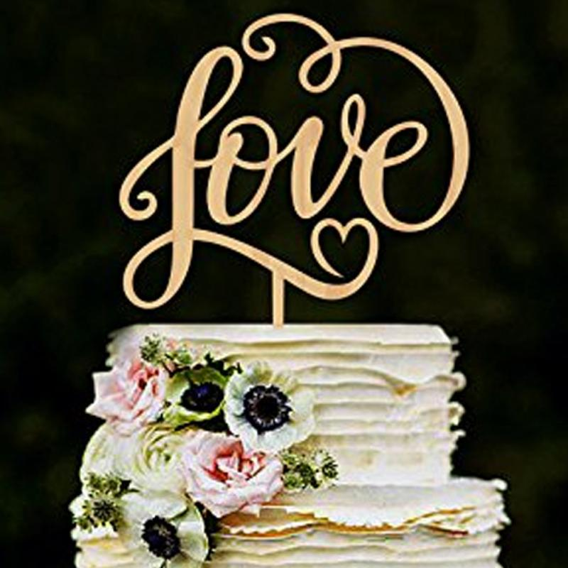 US MR MRS Wood Cake Topper Wedding Valentine Insert Anniversary Card Decoration
