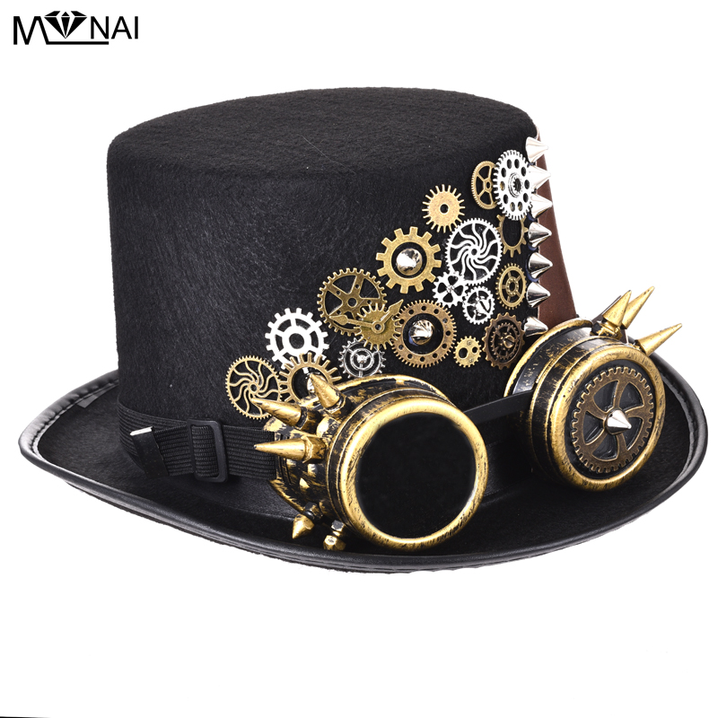 BLACK STEAMPUNK TOP HAT With Gold Goggles Magician Adult Punk Goth Magic Felt