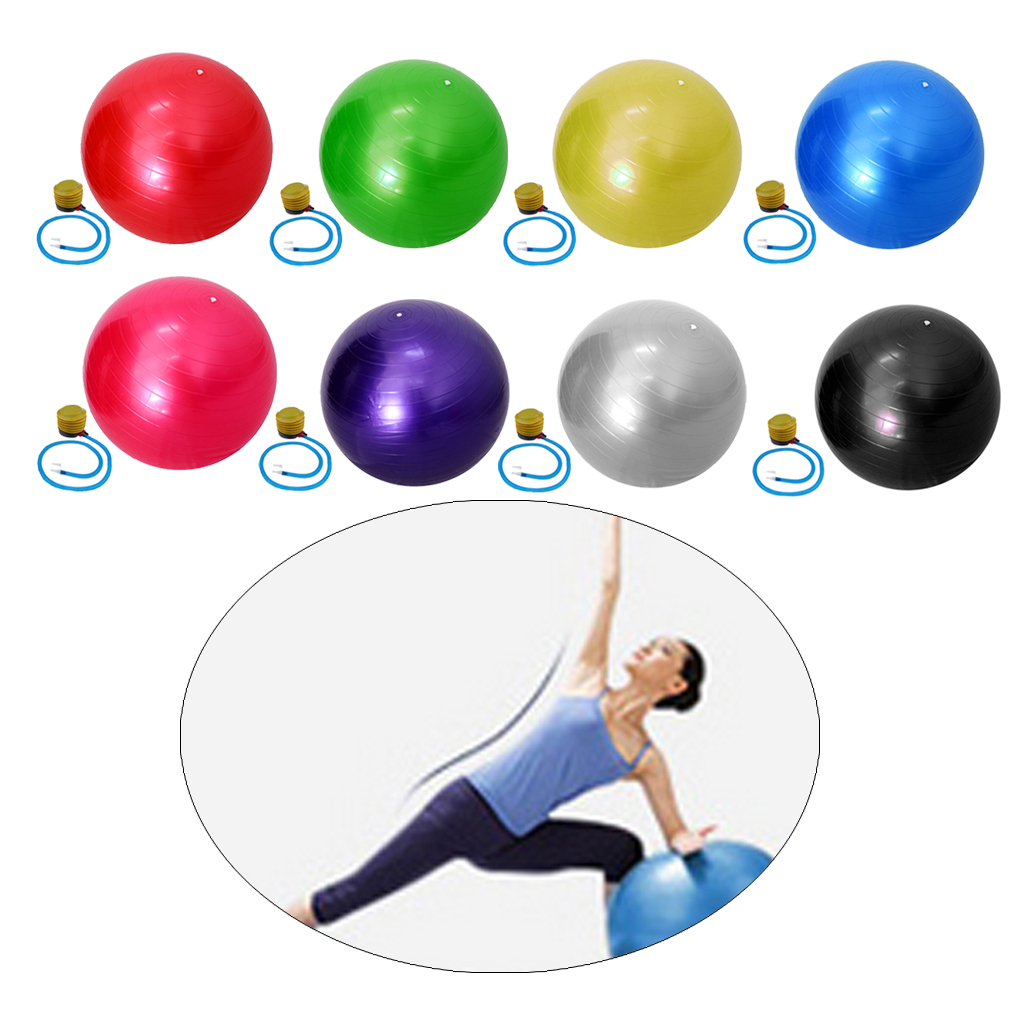 "Yoga Ball Silver 65cm 25/"" Fitness Exercise Gymnastic Pilates Balance w// Air Pump"