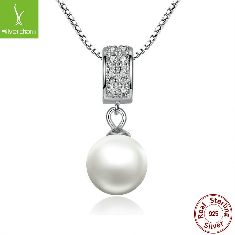 925 Sterling Silver Pearl Pendant Necklace Long Chain Necklace Fashion Jewelry Wedding Necklace Accessories