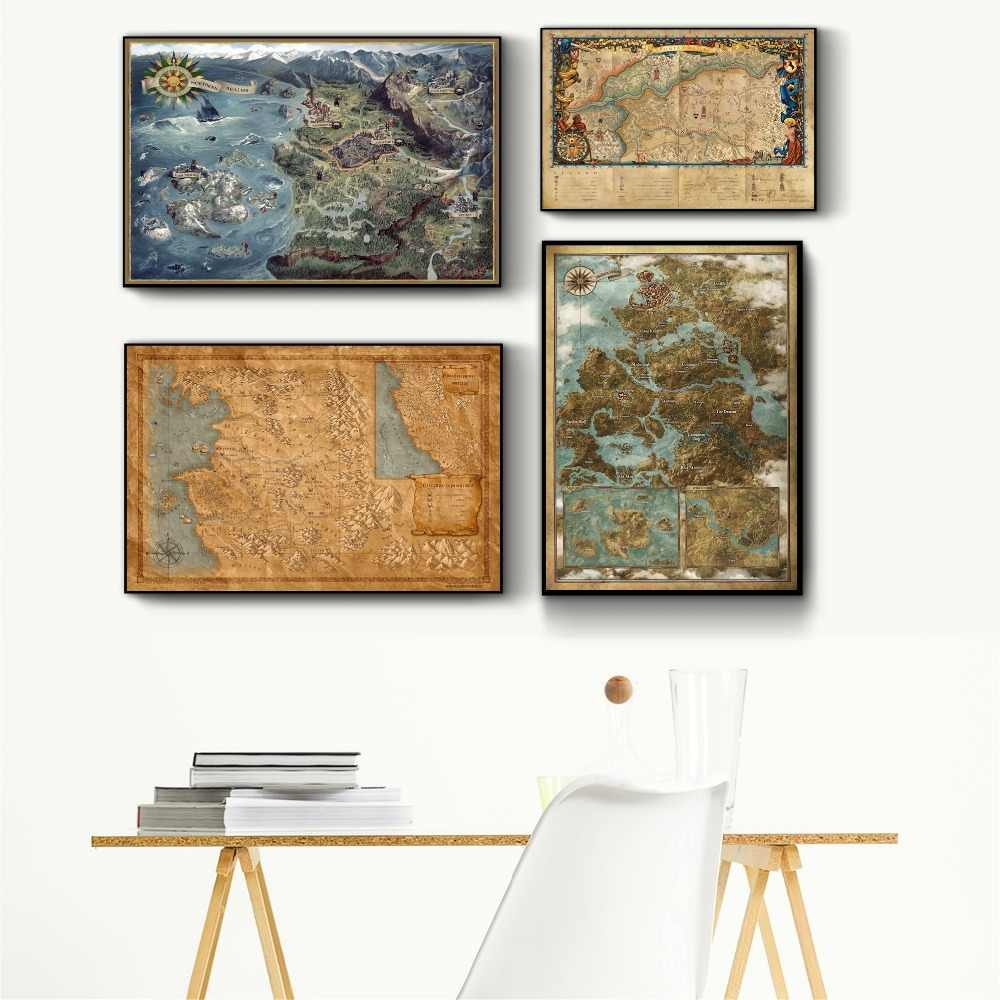 The Witcher 3 World Map Canvas Printed Painting Posters And ...