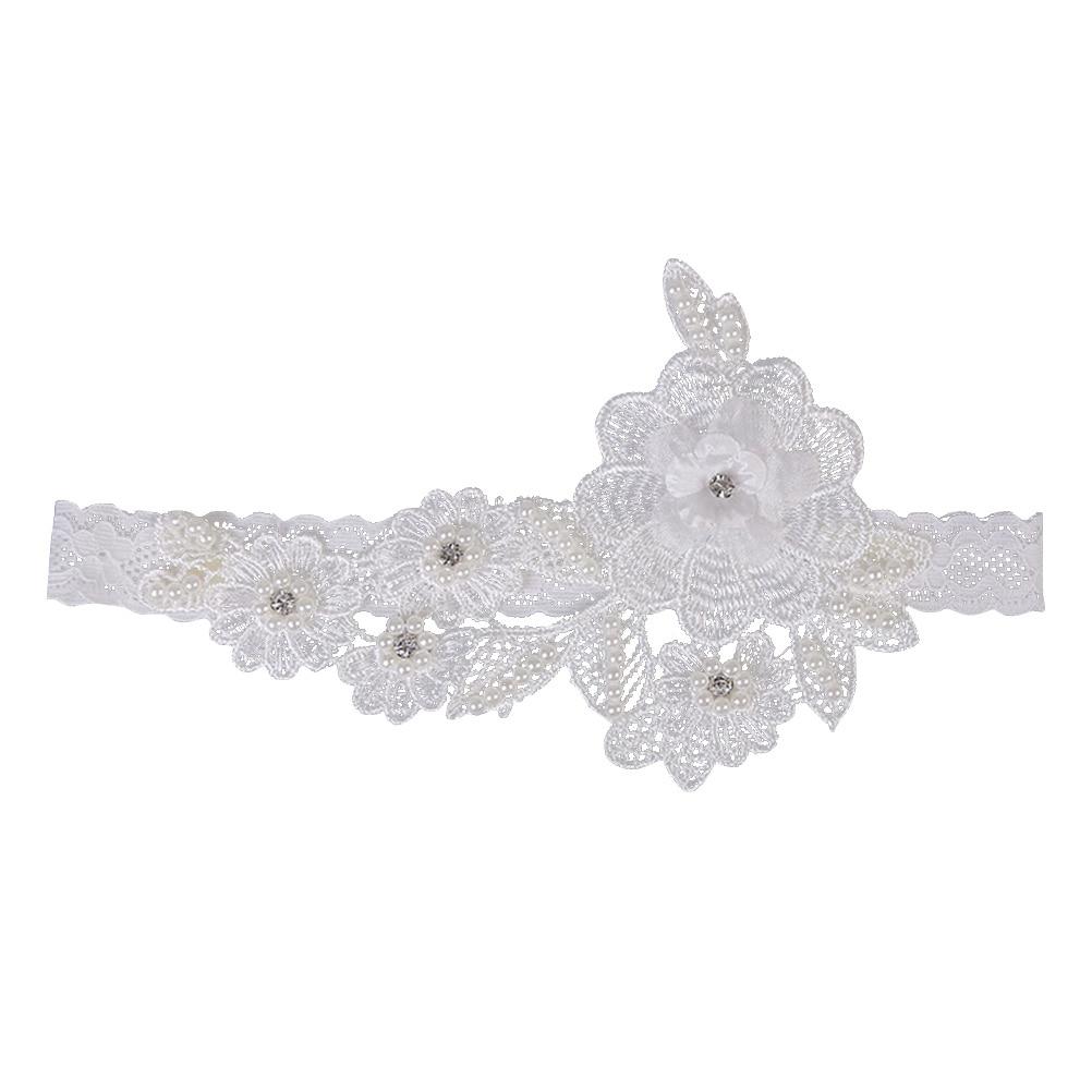 Garter White Embroidery Flower Beading Rhinestone Female Wedding Garters For Bride Rubber Lace Band Bridal Leg Garters Wg009 Garters