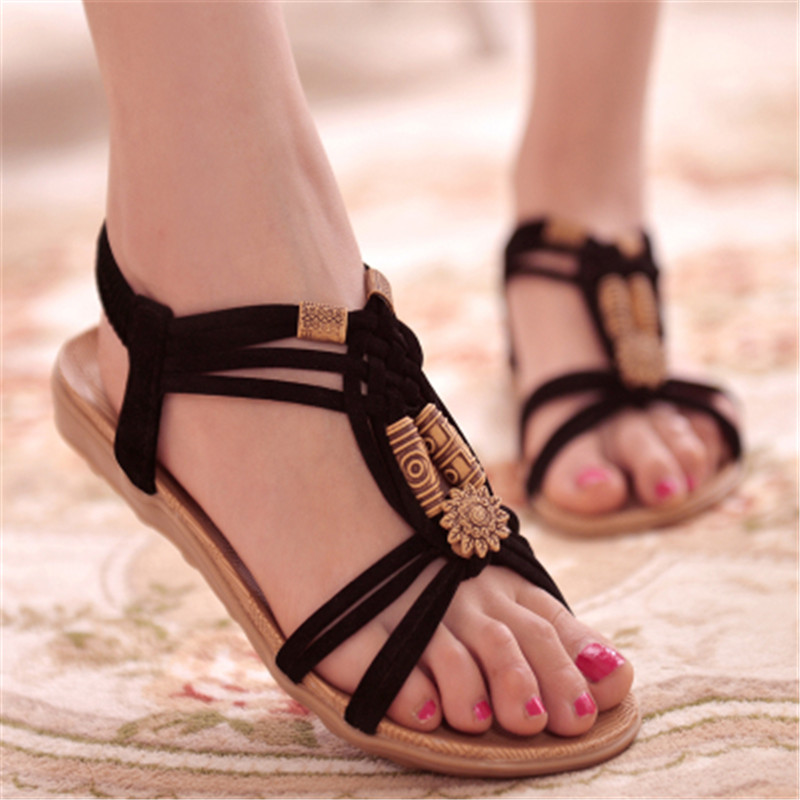 Casual Sandals Women Shoes Slip-On Flat Female Gladiator Bohemia Beach New Leisure title=