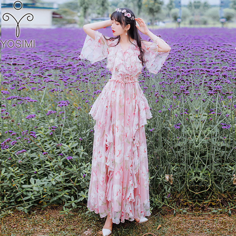 2019 Summer Pink Dress Evening Party Long Women Dress Maxi Elegant Print  Chiffon Ankle-Lenght V-Neck Long Female Vestido Runway