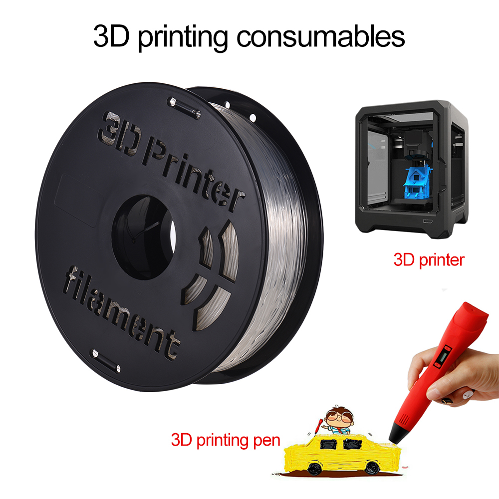 Printing Material Flexible TPU Filament Supplies White / Black / Transparent for 3D Printer Drawing Pens 1KG/ Spool 1.75mm