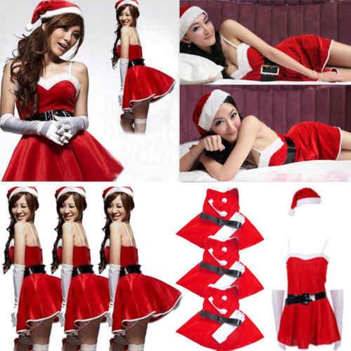2019 2pCWomen Santa Claus Christmas Helper Fancy Dress Costume Xmas Party  Outfit Hat 074028d85b76