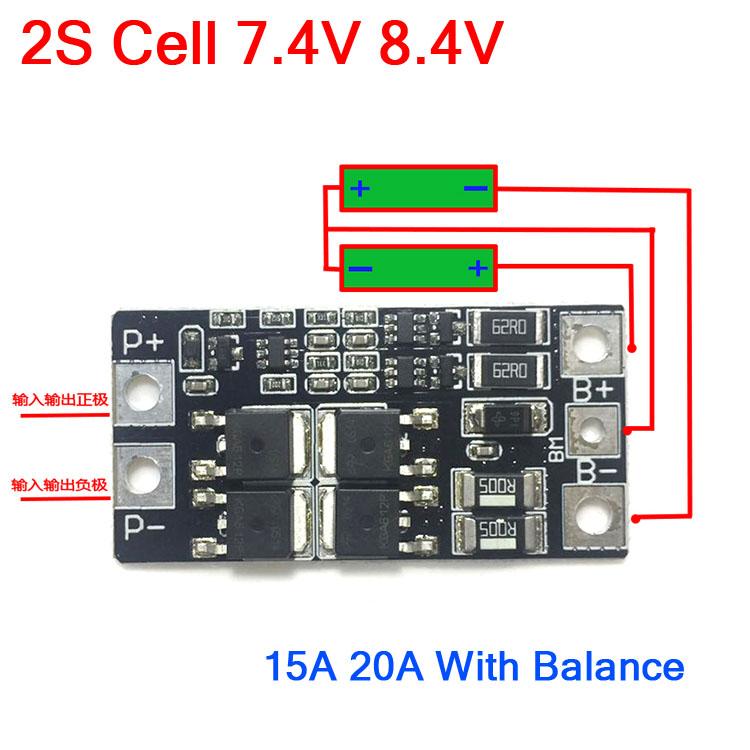 2S 20A 7.4V 8.4V 18650 Lithium battery BMS Board//Battery Protection board