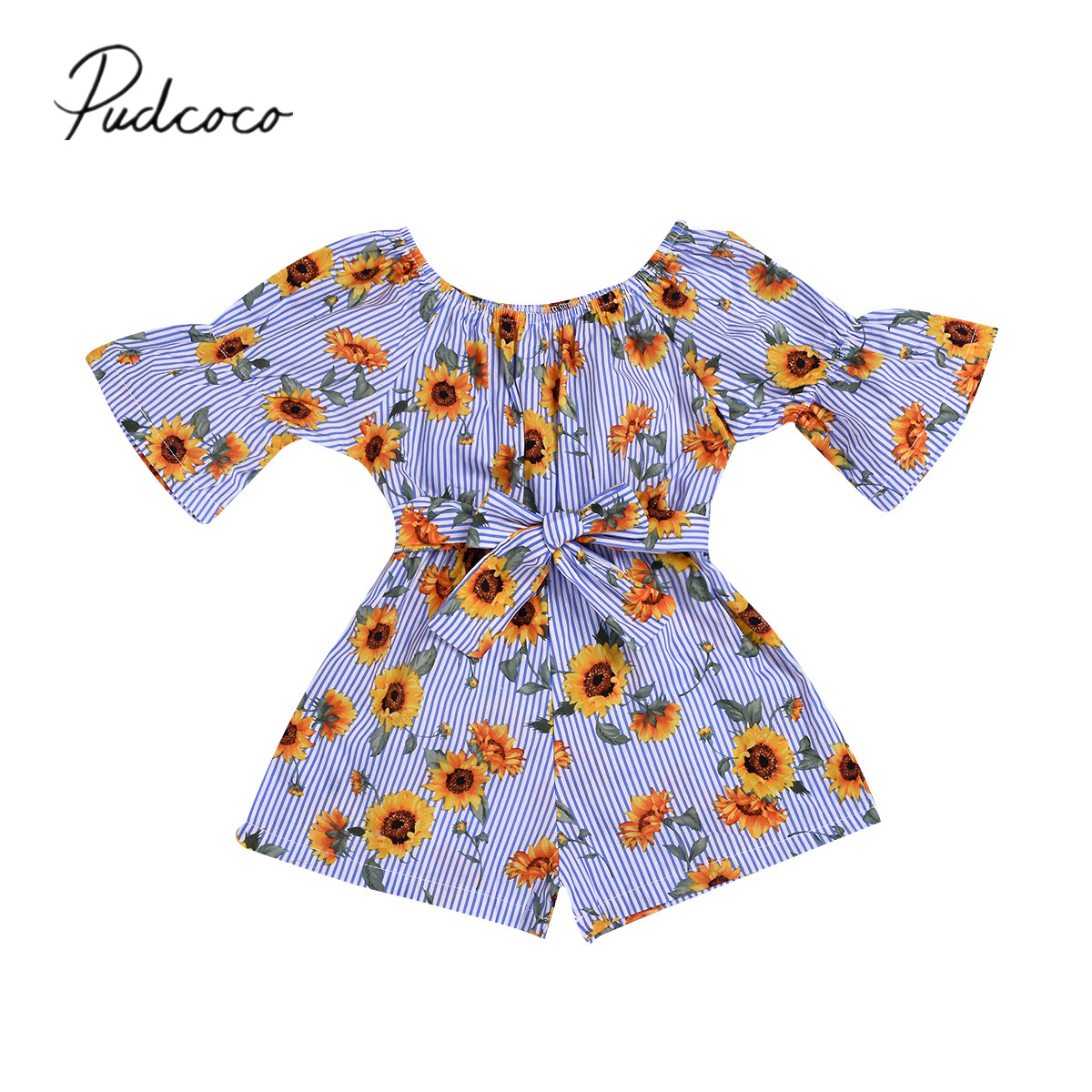 Baby Girl Kids Strappy Floral Romper Bodysuit Flare Pants Summer Outfit Clothes