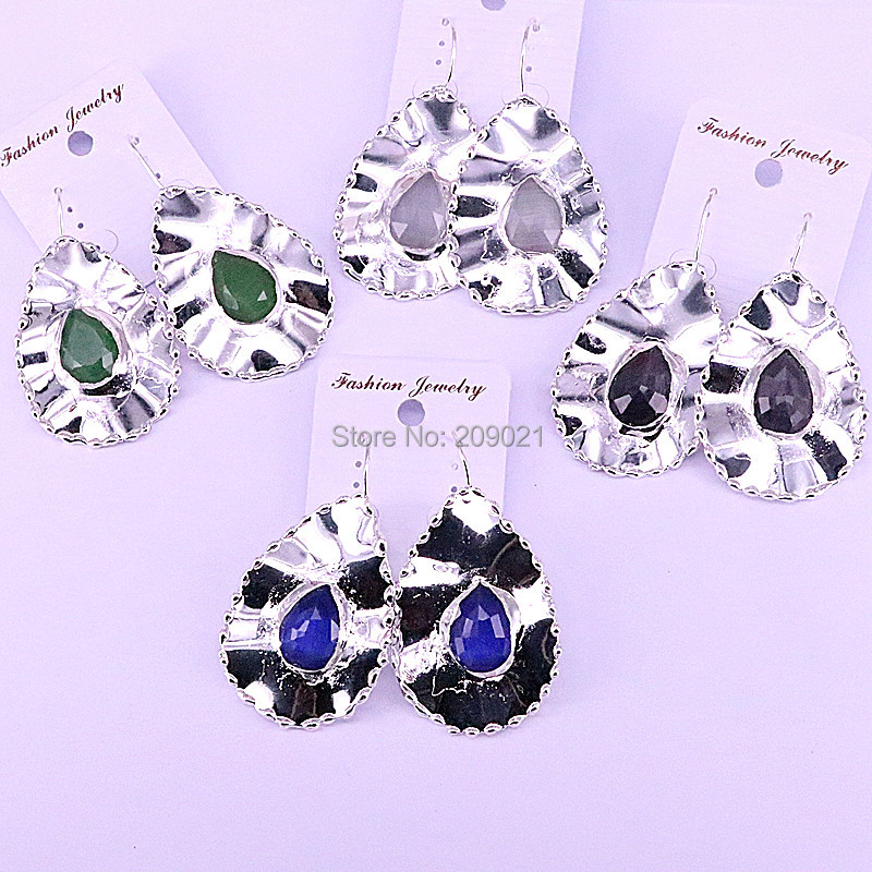 4Pairs Silver Color Metal drop shape natural stone charm dangle earrings for women Gems Jewelry