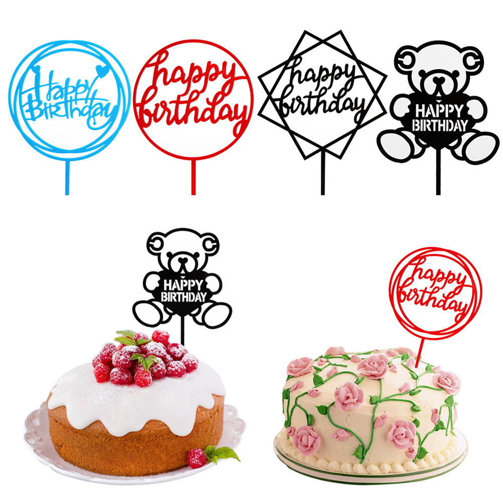 5X Happy Birthday cake topper party supplies Cupcake Toppers Flags-Decor