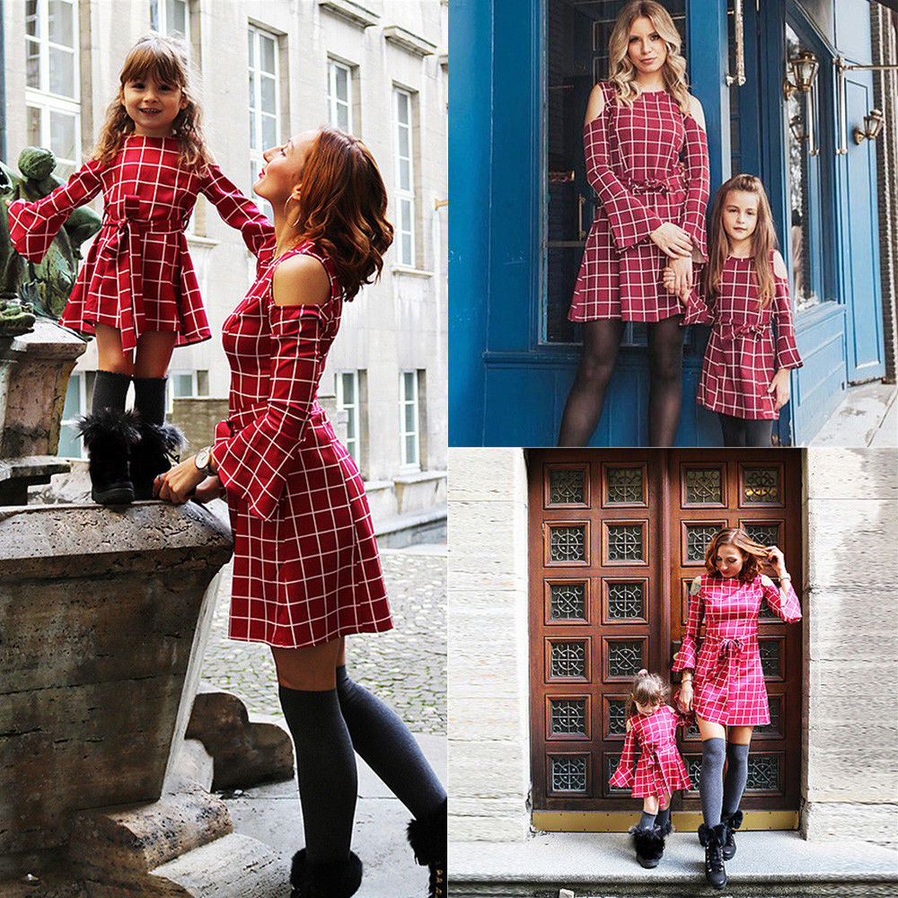 Dresses Mom Outfits Matching Girls Daughter Kids Red New 3-8year And S-XL Plaid Ladies title=
