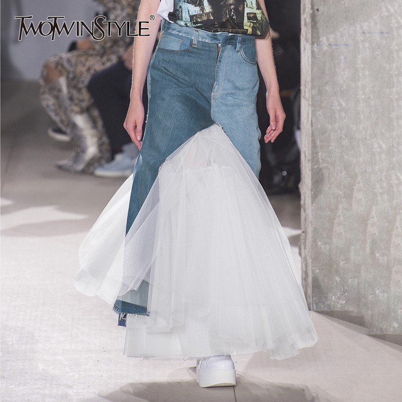 TWOTWINSTYLE Hit Color Mesh Patchwork Women Skirt High Waist Slim Denim A Line Midi Skirts Female Fashion Spring 2019 Casual New