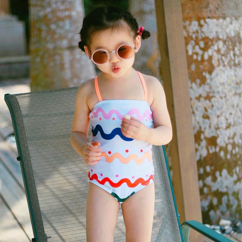 Summer Lace Kids Baby Girls Bikini Suit Sunscreen Quick-drying Swimsuit Sling Swan Swimwear Bathing One-piece Swimming Clothes High Quality Materials Swimwear