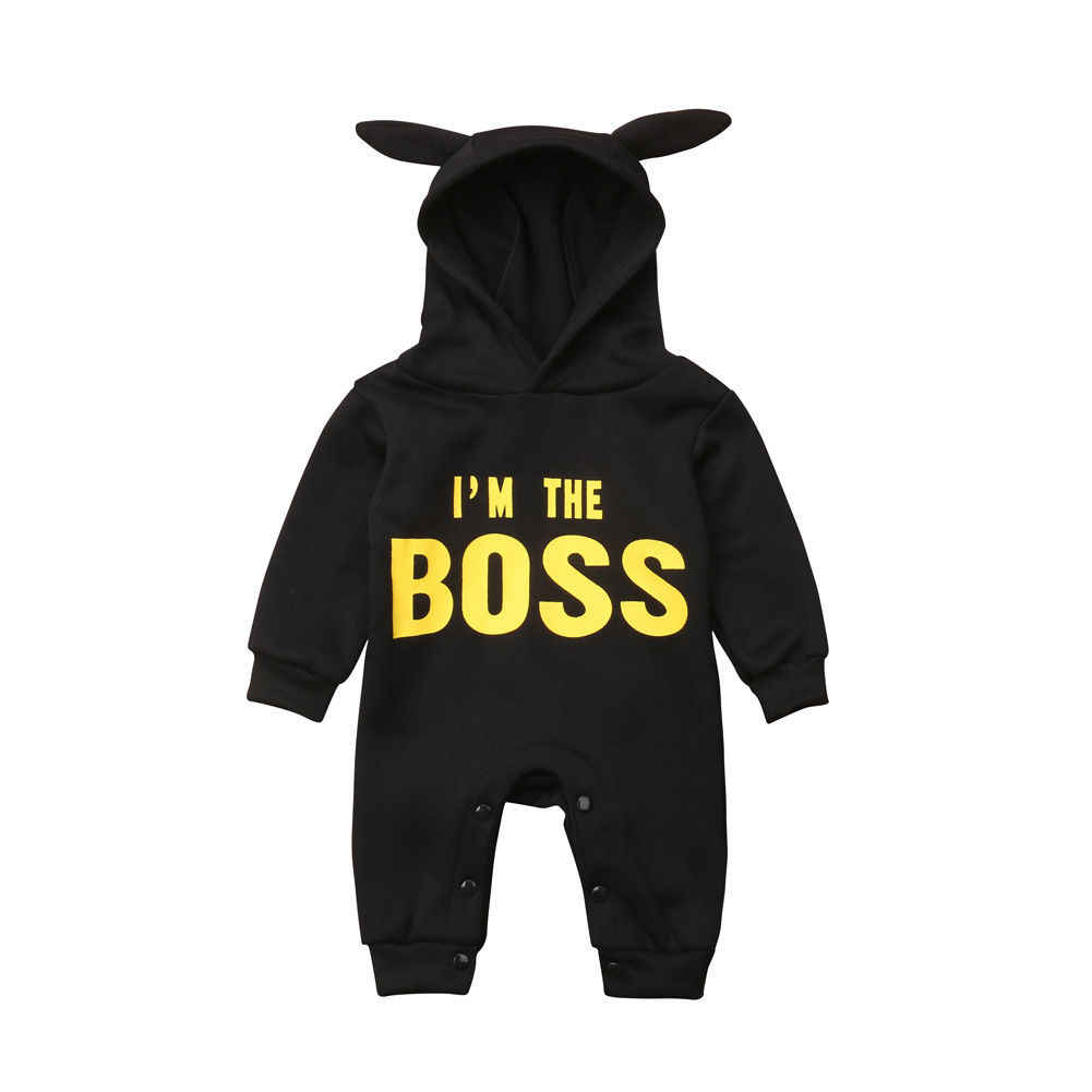 Spring Autumn Newborn Baby Boy Girl Rompers I m The Boss Long Sleeve Hooded  Romper 77dbcdcc493