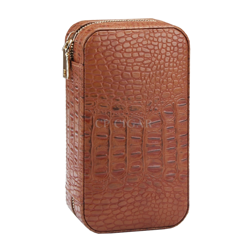 Cigar Case Humidor W//Humidifier COHIBA Brown Leather Cedar Lined Holds 6 Cigars