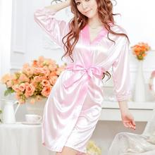 New Sexy Lingeries Lace Splicing Women Satin Night Dress Belted Sleepwear Elegant Night Gown Bathrobe Pijama Femme #05(China)