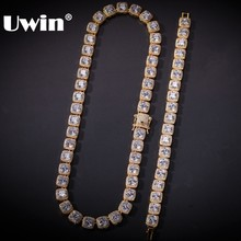 UWIN Jewelry-Set Link-Chain Necklace Bracelet Gold 10mm Bling Hiphop Square Bundle Top-Quality