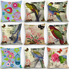 Home decorative pillows couch cushion seat back cushions cotton linen pillowcase Vintage Euro style birds plants printed MYJ-B7(China)