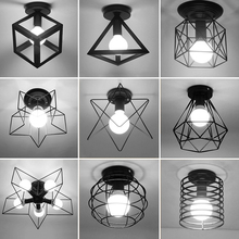 Vintage Ceiling Lights Lustre Luminaria Led Ceiling Lamp Loft Iron Cage Fixtures Abajur Home Lighting Plafonnier For Living Room(China)