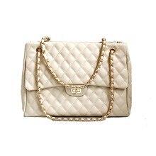 TTOU Fashion Women Large Handbag Quilted Chain Shoulder Bag Ladies Luxury PU Leather Handbag Plaid Casual Tote Female