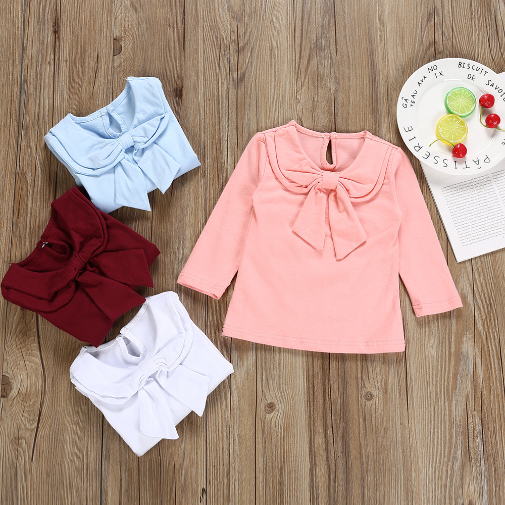 CU Newborn Toddler Baby Girls Long Sleeve Ruffles Tops Solid T Shirts Clothes