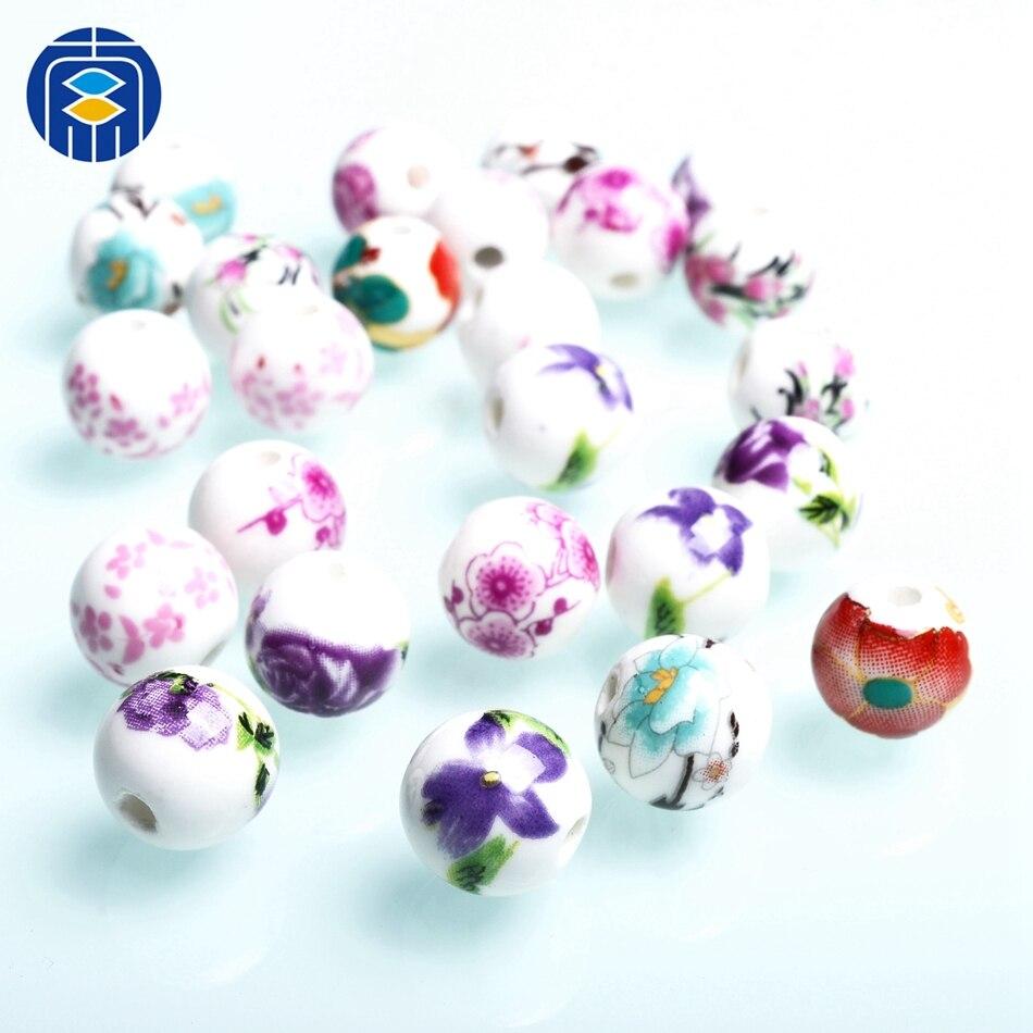 20mm Purple Ceramic Porcelain Round Loose Beads 5PCS